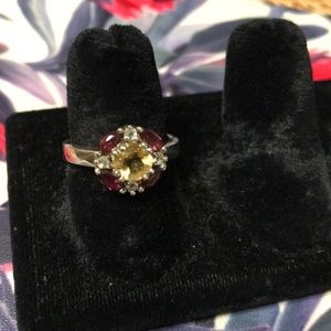 Sterling silver garnet and citrine ring size 6.5
